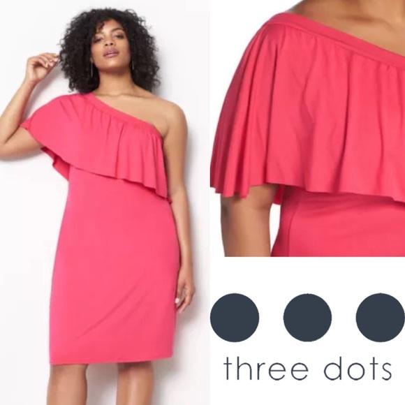 1cb037ca Three Dots Dresses | Nwt Off Shoulder Ruffle Hot Pink Dress | Poshmark